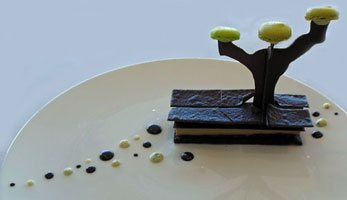 sculptured chocolate dessert